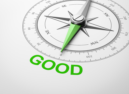 Magnetic Compass with Needle Pointing Green Good Word on White Background 3D Illustration Stok Fotoğraf