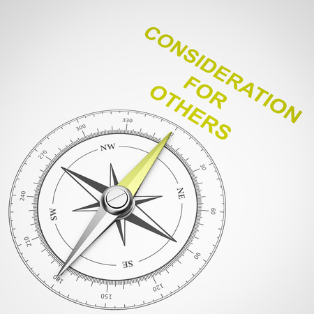 Magnetic Compass with Needle Pointing Yellow Consideration for Others Text on White Background 3D Illustration