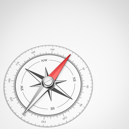 Magnetic Compass with Red Needle with Copyspace on White Background 3D Illustration