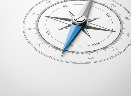 Magnetic Compass with Blue Needle with Copyspace on White Background Closeup 3D Illustration