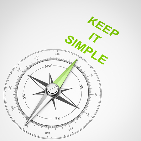 Magnetic Compass with Needle Pointing Green Keep It Simple Text on White Background 3D Illustration Stock Photo
