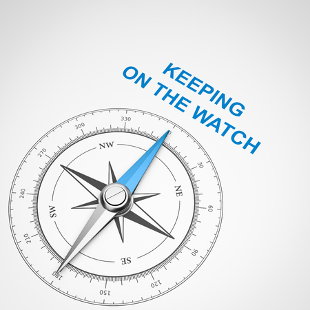 Magnetic Compass with Needle Pointing Blue Keeping on the Watch Text on White Background 3D Illustration