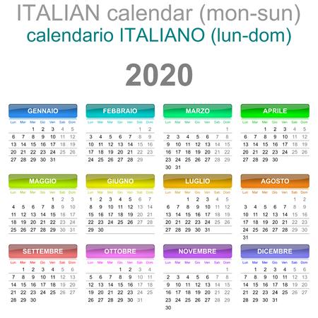 Colorful Monday to Sunday 2020 Calendar Italian Language Illustration