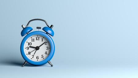 Blue Alarm Clock on Blue Empty Background 3D Illustration