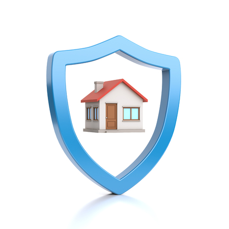 Blue Outline Shield Shape Protecting the House on White Background 3D Illustration Imagens