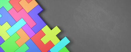 Colorful Blocks Combined on Dark Gray Background with Copy Space 3D Illustration