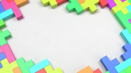 Colorful Blocks Combined as a Frame on White Background with Copy Space 3D Illustration Stock Photo