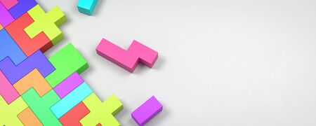 Colorful Blocks Combined on White Background with Copy Space 3D Illustration Stock Photo