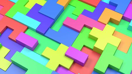 Colorful Blocks Combined, Abstract Background 3D Illustration Stock Illustration - 125392580