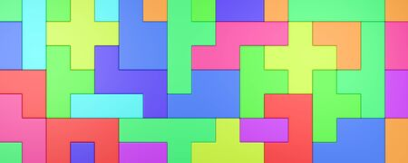 Colorful Blocks Combined, Abstract Background 3D Illustration
