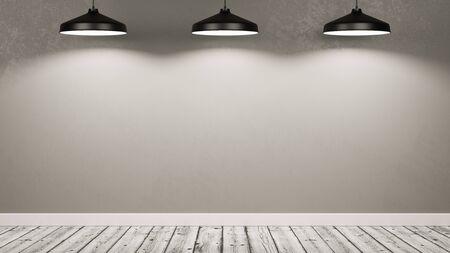 Holzboden leerer Raum mit einer grauen Wand beleuchtet von drei schwarzen Lampen 3D-Illustration