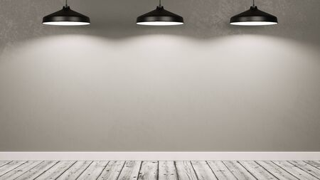 Wooden Floor Empty Room with a Gray Wall Illuminated by Three Black Lamps 3D Illustration