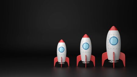 Set of Three Increasing Size Red and White Cartoon Spaceships on Dark Background with Copy Space 3D Illustration 版權商用圖片