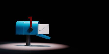 Blue Mailbox with Envelop Spotlighted on Black Background with Copy Space 3D Illustration