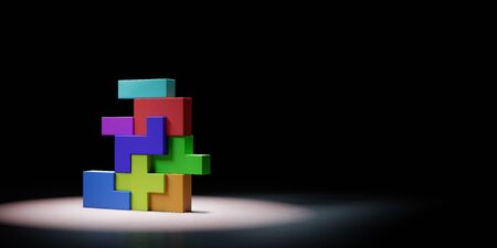 Colorful Blocks Combined Spotlighted on Black Background with Copy Space 3D Illustration