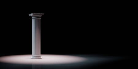 Single Greek Column Spotlighted on Black Background with Copy Space 3D Illustration