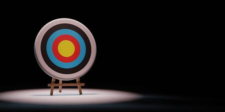 Colorful Arrow Target Spotlighted on Black Background with Copy Space 3D Illustration