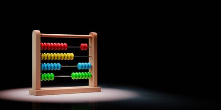 Colorful Wooden Abacus Spotlighted on Black Background with Copy Space 3D Illustration