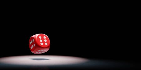 Red Dice with All Six Numbered Faces Spotlighted on Black Background with Copy Space 3D Illustration Banco de Imagens
