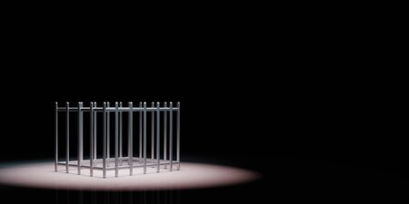 Iron Empty Cage Spotlighted on Black Background with Copy Space 3D Illustration 스톡 콘텐츠
