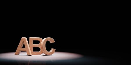Wooden ABC Letters Shape Spotlighted on Black Background with Copy Space 3D Illustration Stock fotó