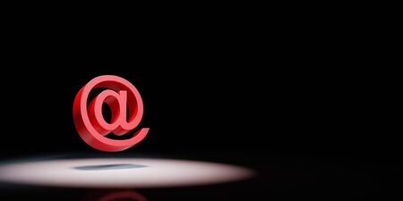 Red Email Symbol Shape Spotlighted on Black Background with Copy Space 3D Illustration