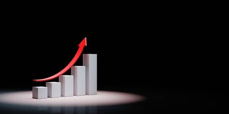 Growing Bar Chart with Rising Red Arrow Spotlighted on Black Background with Copy Space 3D Illustration Stock fotó