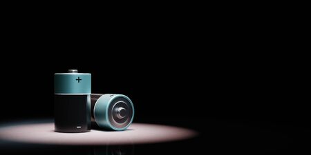 Electric Battery Spotlighted on Black Background with Copy Space 3D Illustration 스톡 콘텐츠