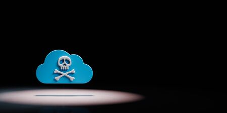 Blue Cloud 3D Shape with Pirate Skull Symbol Spotlighted on Black Background with Copy Space 3D Illustration
