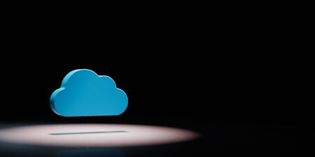 Blue Cloud 3D Shape Spotlighted on Black Background with Copy Space 3D Illustration 스톡 콘텐츠