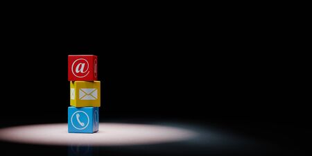 Contact Us Stack of Colorful Cubes Set Spotlighted on Black Background with Copy Space 3D Illustration