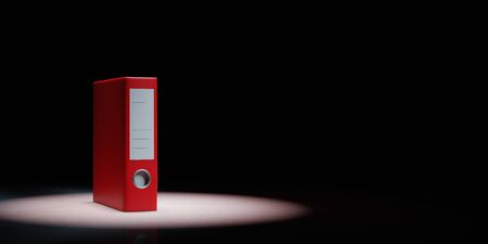 One Single Red Binder Spotlighted on Black Background with Copy Space 3D Illustration
