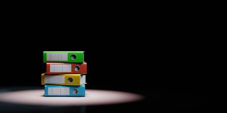 Heap of Colorful Binders Spotlighted on Black Background with Copy Space 3D Illustration