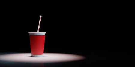 One Single Red Fast Food Drinking Cup with Straw Spotlighted on Black Background with Copy Space 3D Illustration