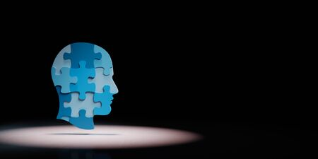 Blue Human Puzzle Head Shape Spotlighted on Black Background with Copy Space 3D Illustration Stock fotó