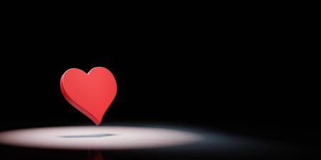 Red Heart Symbol Shape Spotlighted on Black Background with Copy Space 3D Illustration Stock fotó