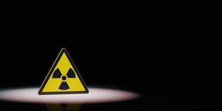Ionizing Radiation Hazard Symbol Spotlighted on Black Background with Copy Space 3D Illustration