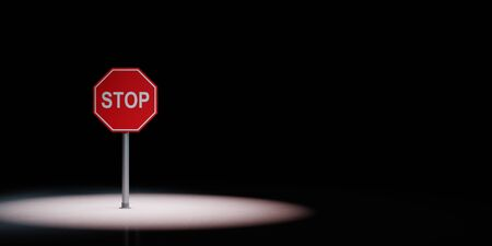 Stop Road Sign Spotlighted on Black Background with Copy Space 3D Illustration