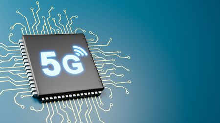 Computer Processor with 5G Text 3D Illustration on Blue Background with Copy Space, 5G Technology Concept