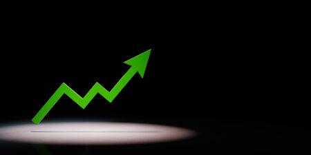 Rising Green Arrow Chart Spotlighted on Black Background with Copy Space 3D Illustration 스톡 콘텐츠