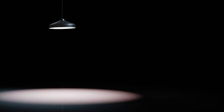 Black Ceiling Lamp Spotlight on Black Background with Copy Space 3D Illustration 스톡 콘텐츠