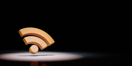Orange RSS Feed Symbol Shape Spotlighted on Black Background with Copy Space 3D Illustration