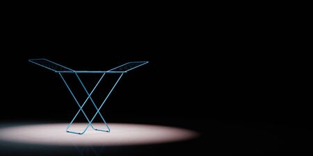 Blue Clothes Drying Rack Spotlighted on Black Background with Copy Space 3D Illustration