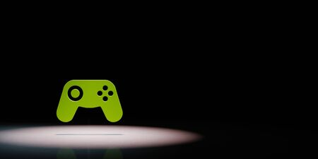 Green Gamepad Controller 3D Symbol Shape Spotlighted on Black Background with Copy Space 3D Illustration