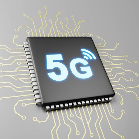 Computer Processor with 5G Text 3D Illustration, 5G Technology Concept