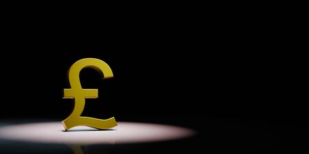Golden Pound British Currency Symbol Shape Spotlighted on Black Background with Copy Space 3D Illustration 스톡 콘텐츠