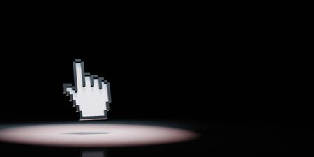 Hand Mouse Pointer Pixelated Spotlighted on Black Background with Copy Space 3D Illustration