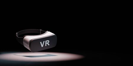 Black and White VR Virtual Reality Headset Spotlighted on Black Background with Copy Space 3D Illustration