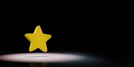 Yellow Bookmark Star Symbol Shape Spotlighted on Black Background with Copy Space 3D Illustration