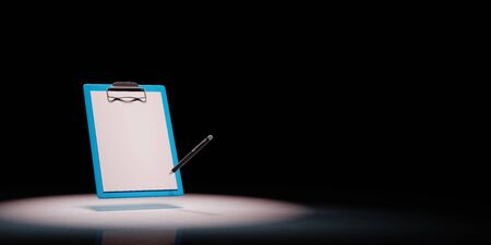 Blue Clipboard with Blank Paper and a Black Ball-point Pen Spotlighted on Black Background with Copy Space 3D Illustration 스톡 콘텐츠